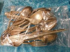 A bagged quantity of silver plated flatwares inclu