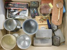 A boxed quantity of sundry items including two jew
