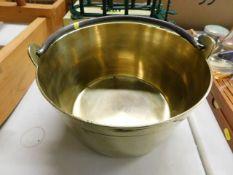 A Victorian brass jam pot