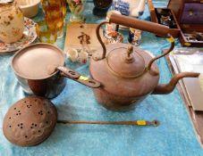 A Georgian copper kettle, a Georgian copper pan wi