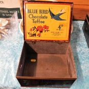 A Bluebird chocolate toffee box, tarnished twinned with three stoneware hot water bottles