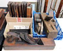 A quantity of antique wooden planes
