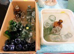 Two boxes of vintage poison & medicine bottles