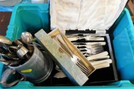 A boxed quantity of mostly plated flatware