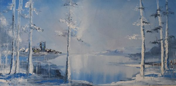 Lot 33 - William N. Blake - Oil on board - Winter Scene, signed lower right, 29cm x 59cm with label verso
