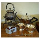 Lot 55 - Assorted plated wares to include; Art Deco three piece plated tea service, spirit kettle on