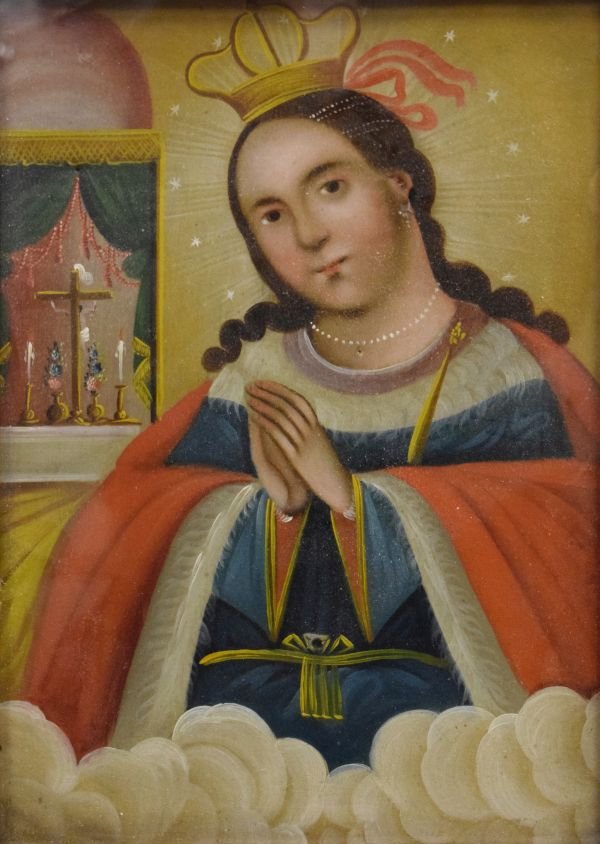 Lot 151 - 19th Century oil on zinc panel - Study of a Saint standing before a shrine, 34cm x 23cm, framed