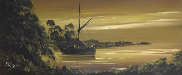 Lot 36 - Ken Rose (20th Century) - Oil on board - Estuary scene with moored fishing boat, signed lower