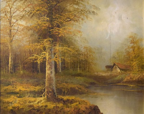 Lot 47 - 20th Century oil on canvas - Landscape with log cabin in a woodland clearing, indistinctly signed (