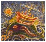 Lot 74 - Thetis Blacker - Two dyed batik textile pictures, the larger depicting a mythical phoenix-like
