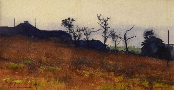 Lot 132 - Paul Lewin - Mixed media - Landscape, signed and dated '94, 16cm x 30cm, framed and glazed