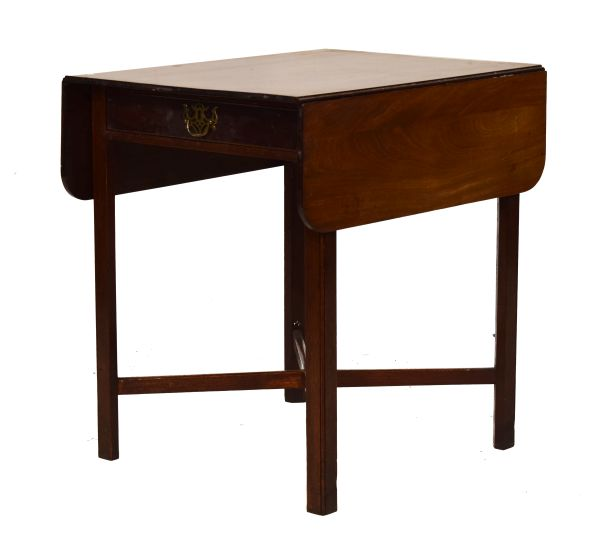 Lot 134 - 19th Century mahogany two flap Pembroke tea table, fitted one drawer and standing on moulded