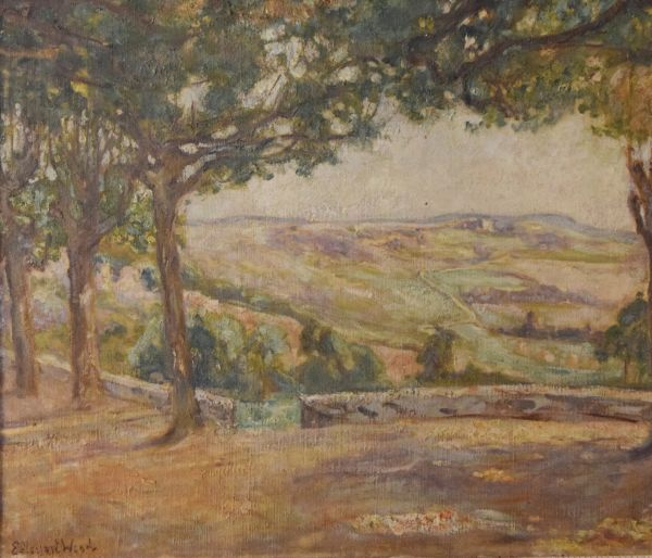 Lot 2 - Emmie Stewart Wood, (fl.1888-1910, d.1937) - Oil on canvas - View across a valley from a wooded