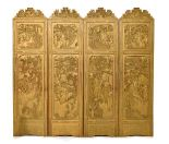 Lot 37 - Early to mid 20th Century Chinese relief-carved four-fold dressing screen, each fold with