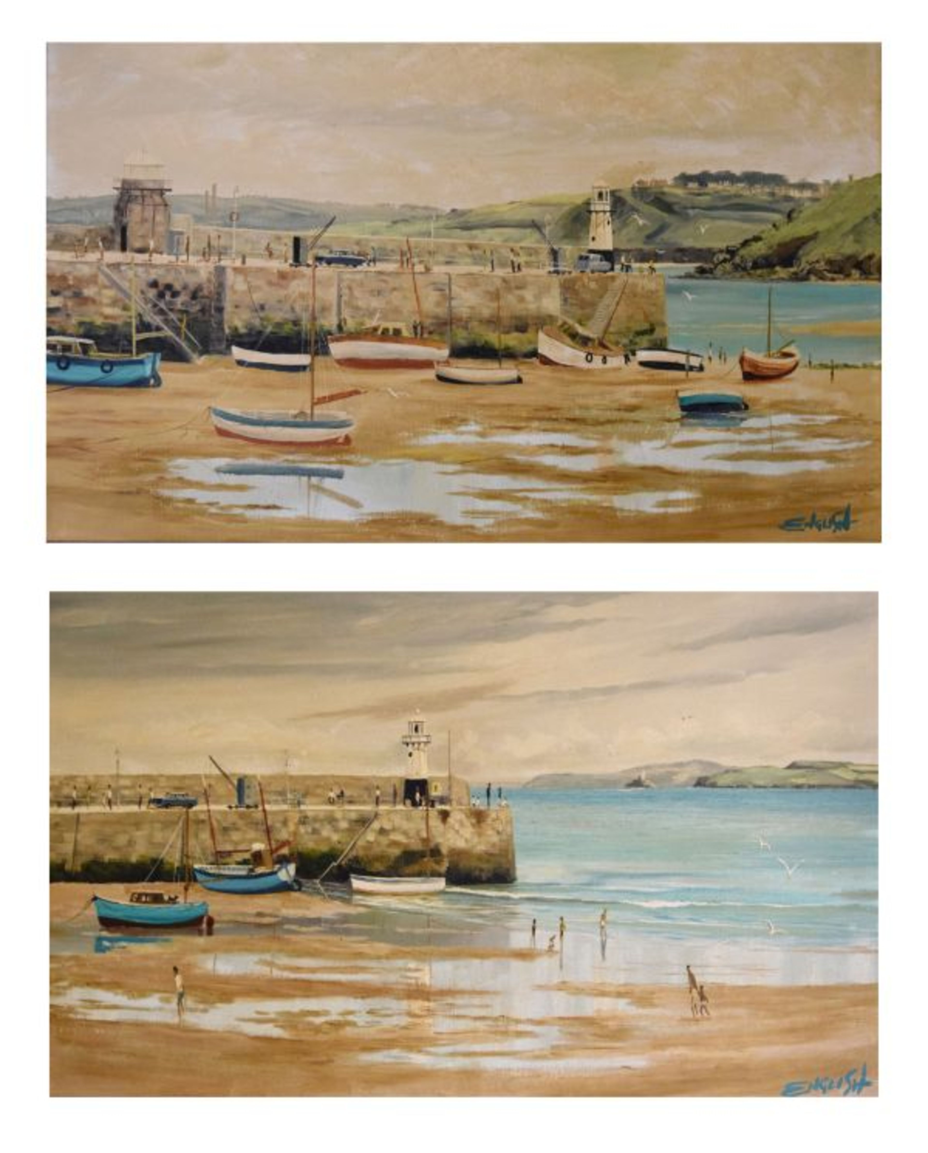 Lot 75 - Keith English (20th Century) - Two coastal scenes of St Ives Harbour, Cornwall, one with figures