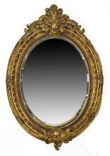Lot 150 - Reproduction gilt framed oval bevelled wall mirror Condition: