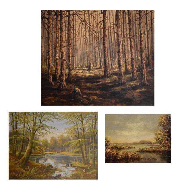 Lot 42 - Nicolaas van Vulpen (Dutch, 20th Century) - Two oils on canvas 'Bos Met Zonlicht', 60cm x 70cm
