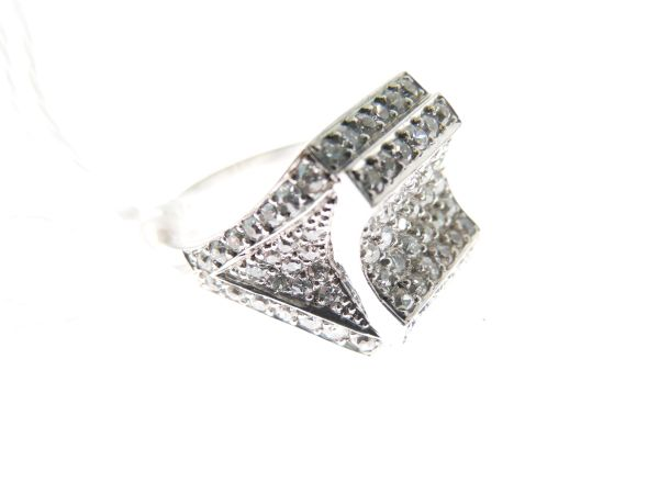 Lot 46 - Diamond cluster ring, the white mount unmarked, pavé set throughout with a total of one hundred