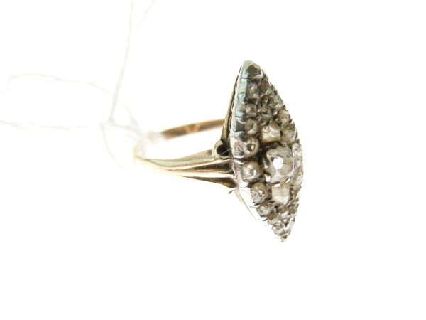 Lot 44 - Late Victorian diamond marquise cluster ring, unmarked, the central old brilliant cut of