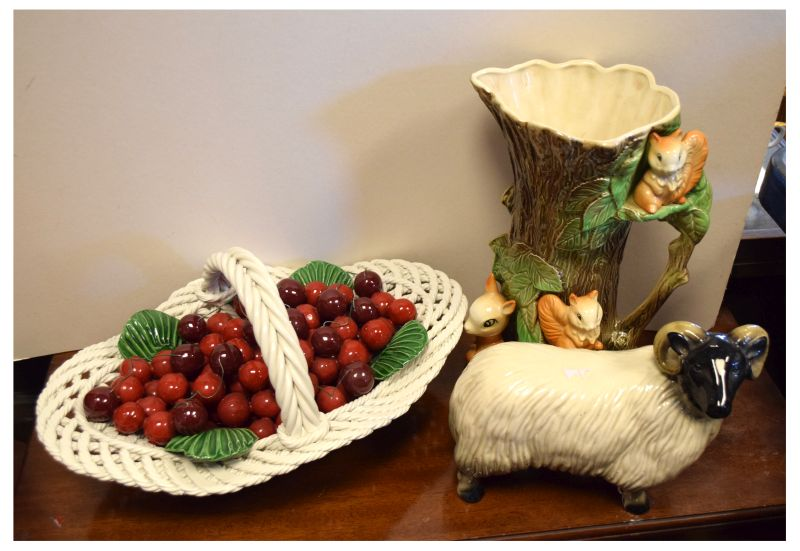 Lot 640 - Italian naturalistic pottery bowl of cherries, a Eastgate pottery jug decorated with squirrels and