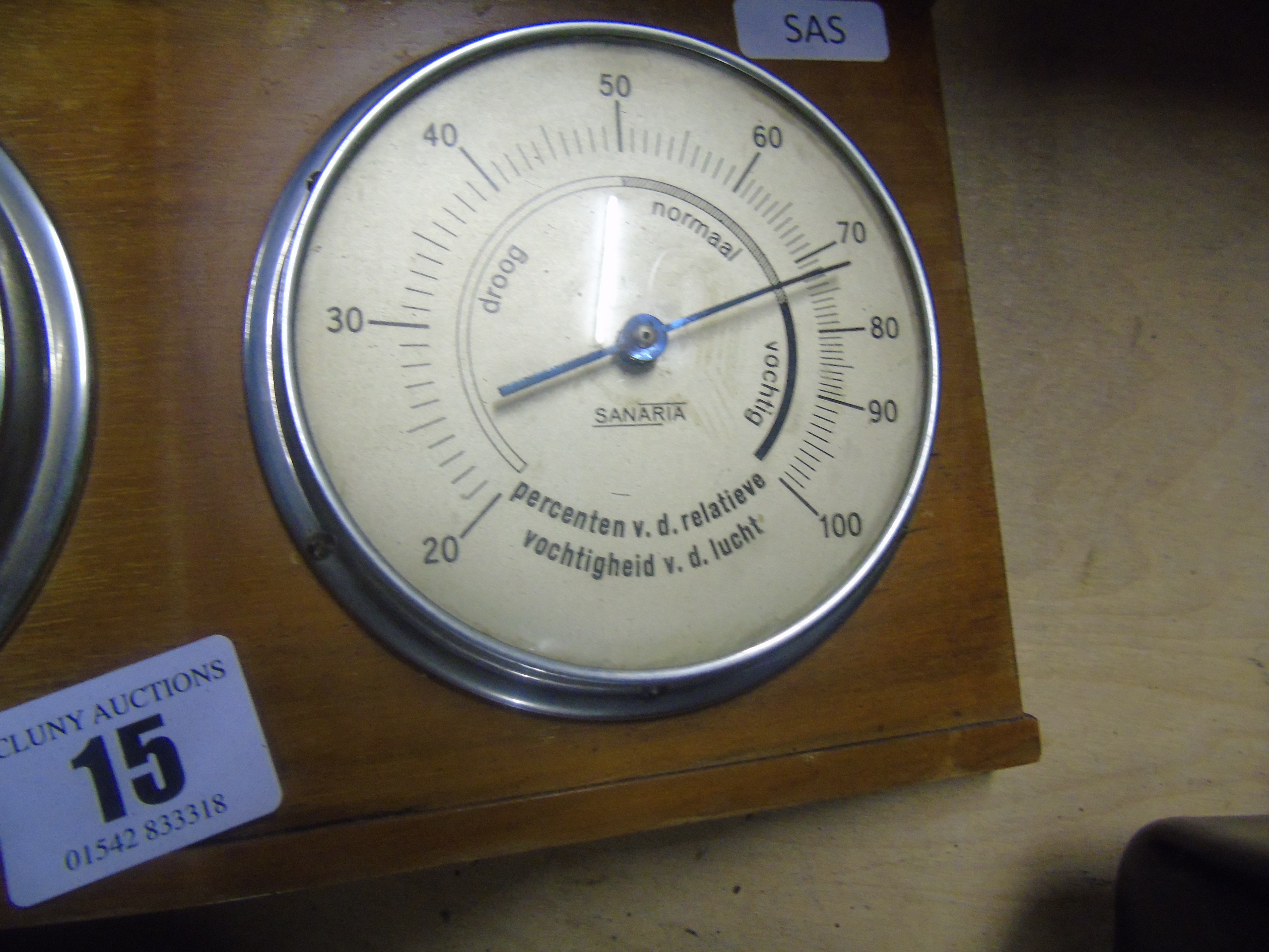 Lot 15 - DUTCH THREE DIAL MOUNTED THERMOMETER BAROMETER ETC EST [£10- £20]