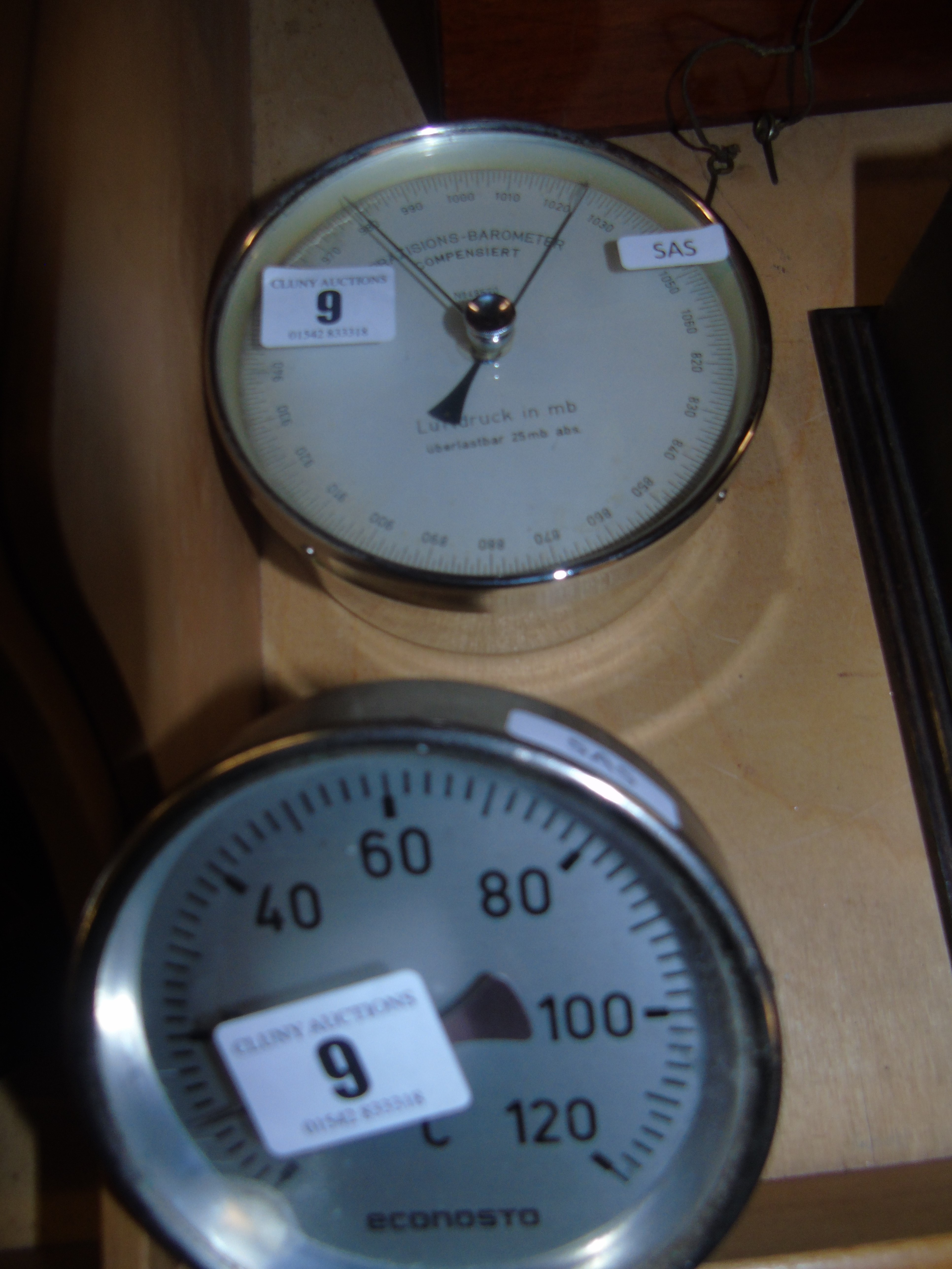 Lot 9 - GERMAN PRECISION CHROME BODIED BAROMETER & ECONSTO THERMOMETER EST[£15-£30]