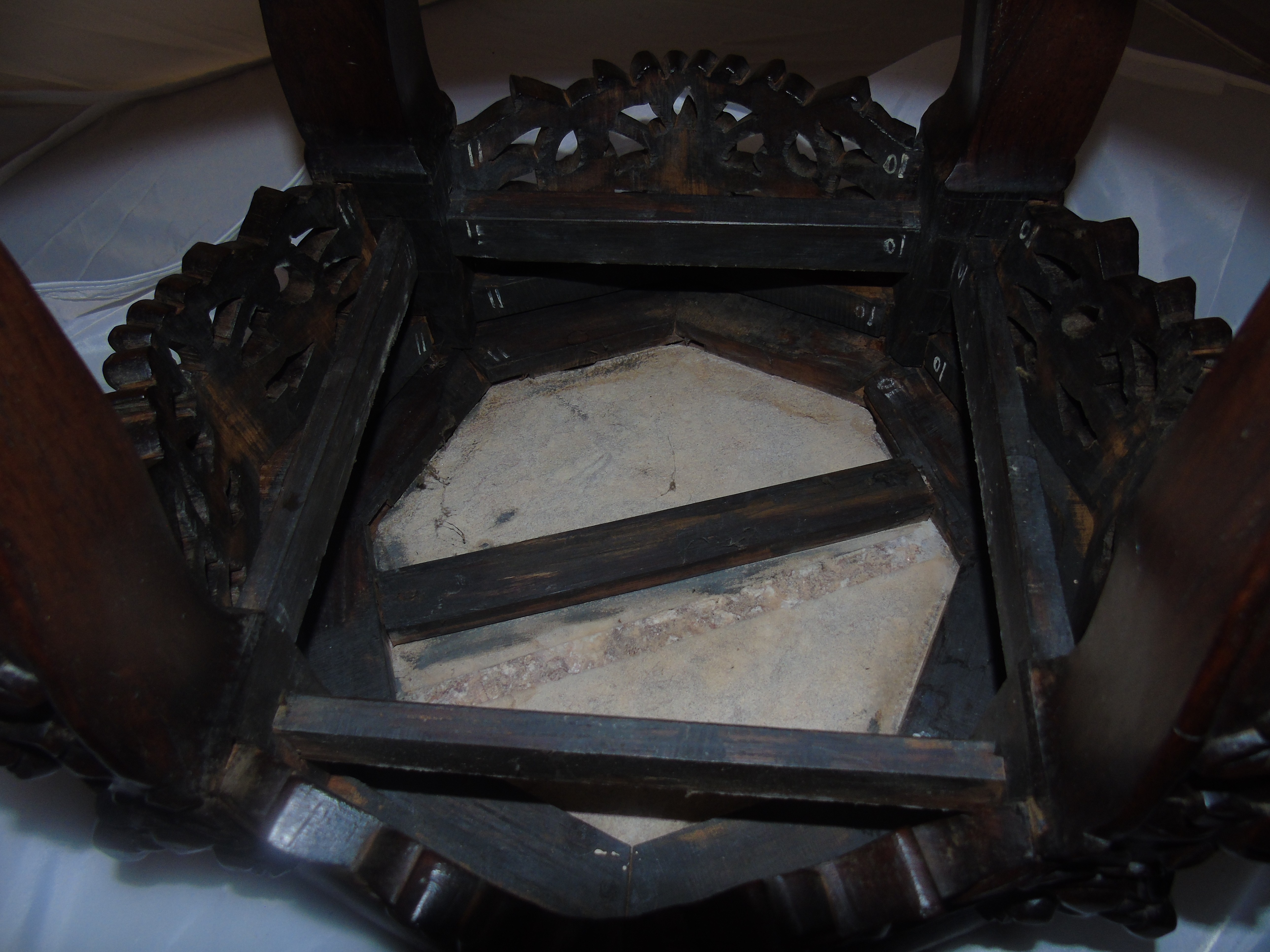 Lot 42 - ASIAN HARDWOOD PLANT STAND HEAVILY CARVED WITH INSET MARBLE TOP 18 ins HIGH X14 ins DIA EST [£80-£