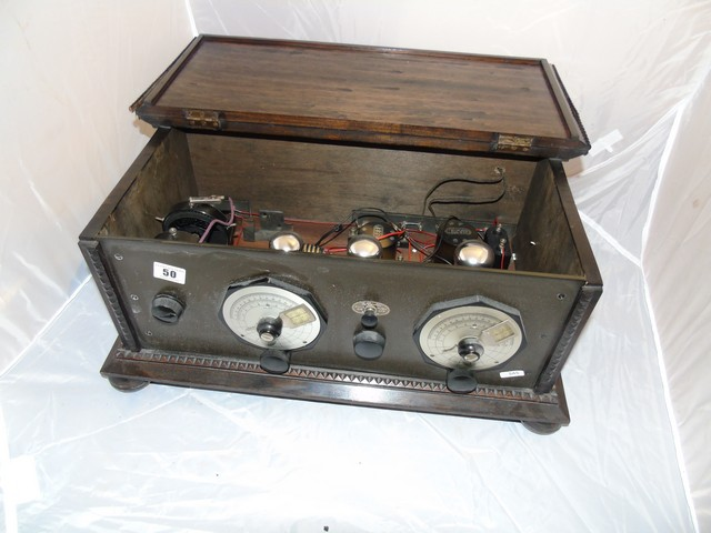 Lot 50 - PINE CASED VINTAGE VALVE RADIO TWIN ALUMINUIM DIALS & HINGED LID (THE POPULAR ) EST[£60-£120]