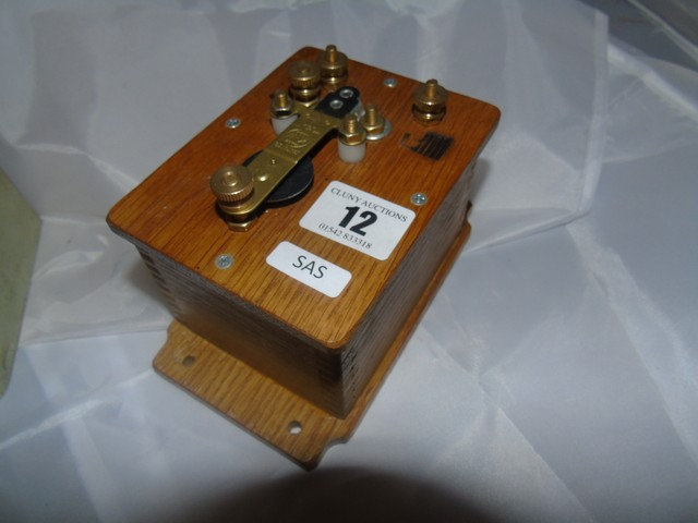 Lot 12 - MORSE CODE SENDER , HAND OPERATED WIND UP TORCH & WW2 HEADPHONES EST [£20- £40]
