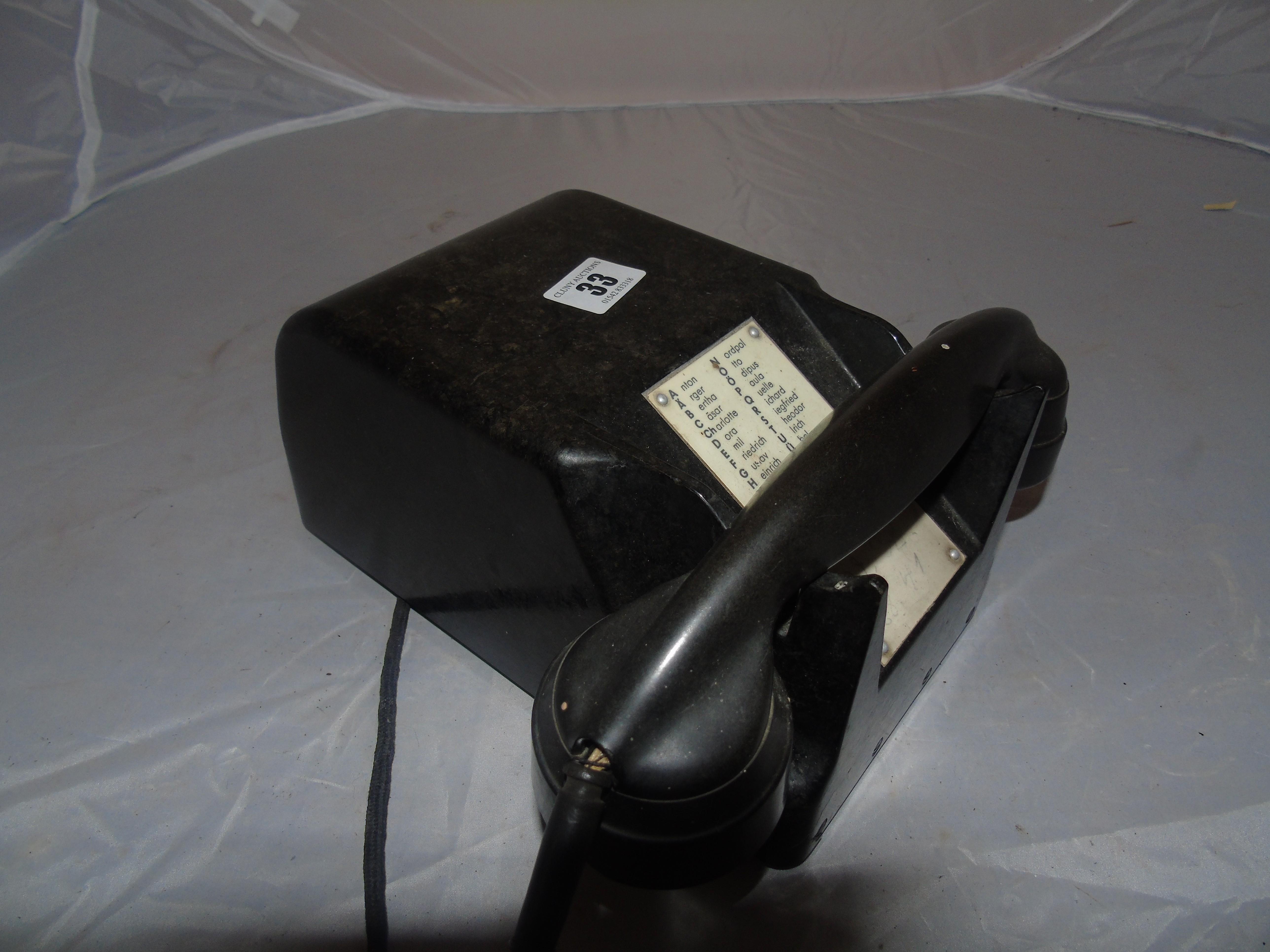 Lot 33 - EARLY INTERNAL BAKELITE TELEPHONE EST [£20-£40]