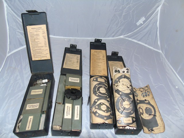 Lot 35 - WEHRMACHT DKW MILITARY UNUSED COMPONETS SPARK PLUGS GASKETS ETC 4 BOXES EST[£50-£90]
