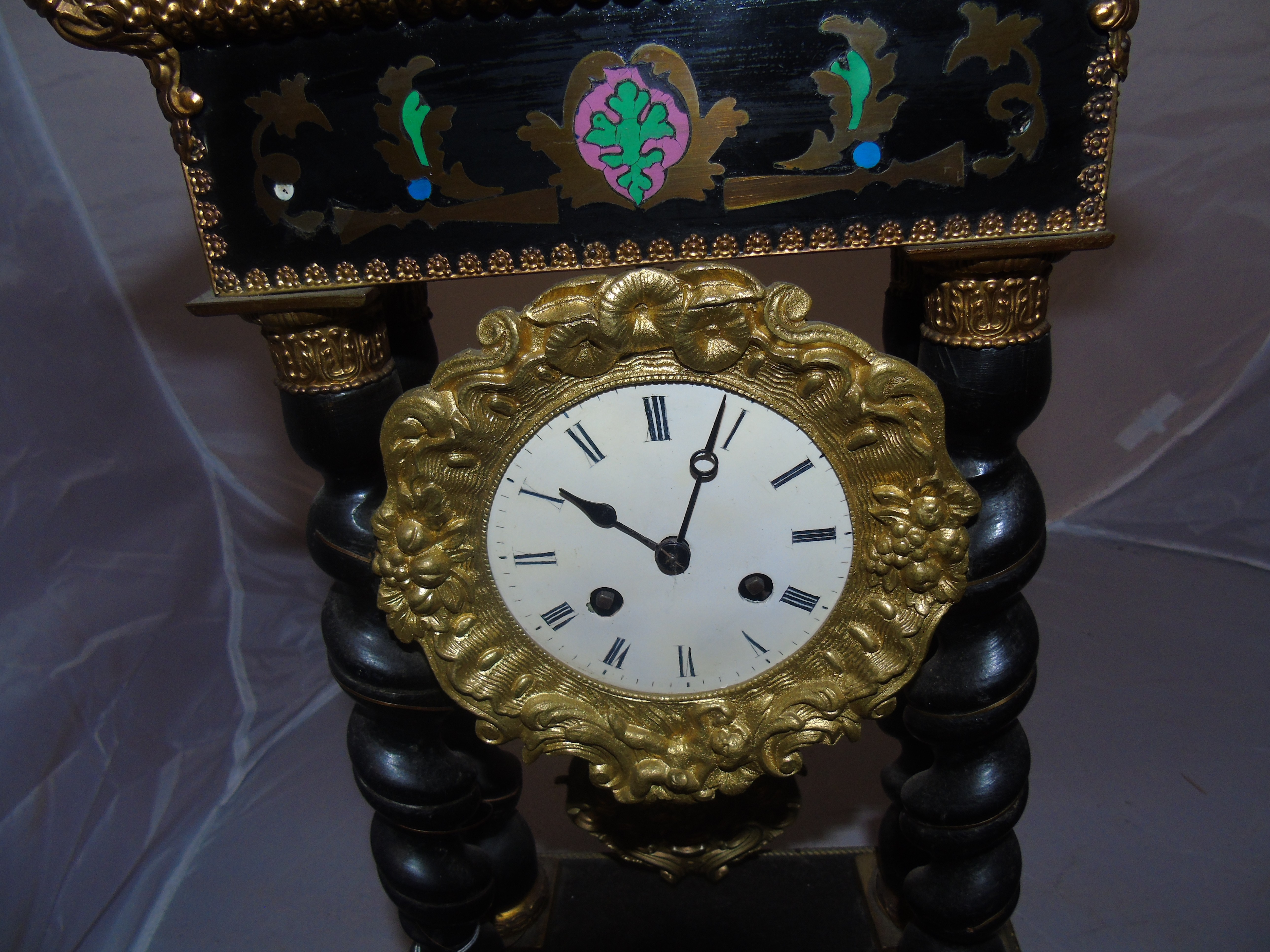 Lot 52 - 19TH CENTURY FRENCH EMPIRE PORTICO CLOCK EBONISED BARLEY TWIST PILLARS WITH A BRASS INLAY &