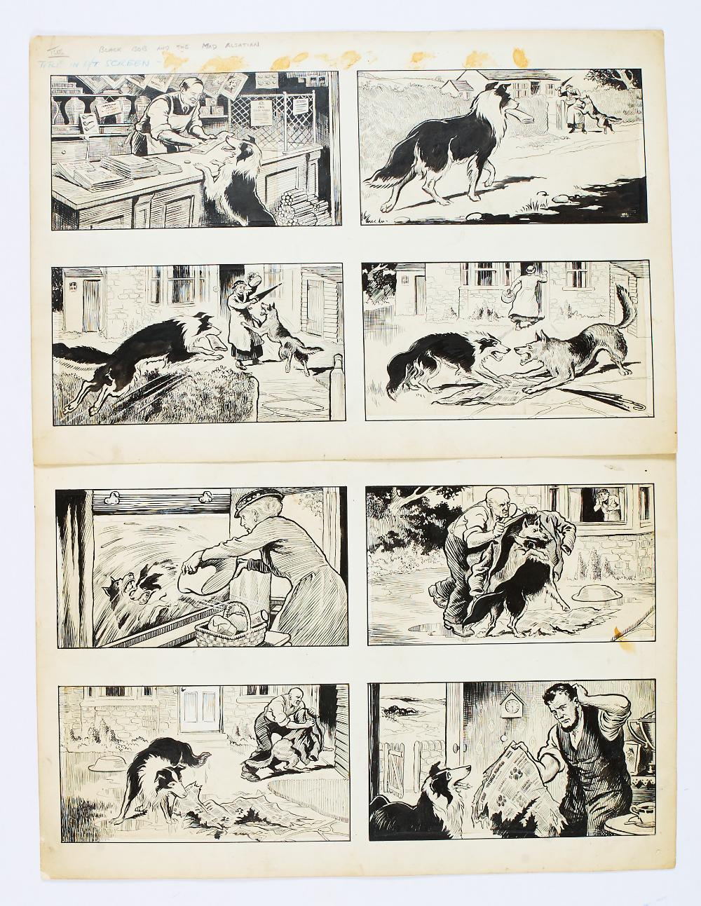 Lot 60 - Black Bob and the Mad Alsatian original 8 panel artworks by Jack Prout (1950s) for The Dandy/Black