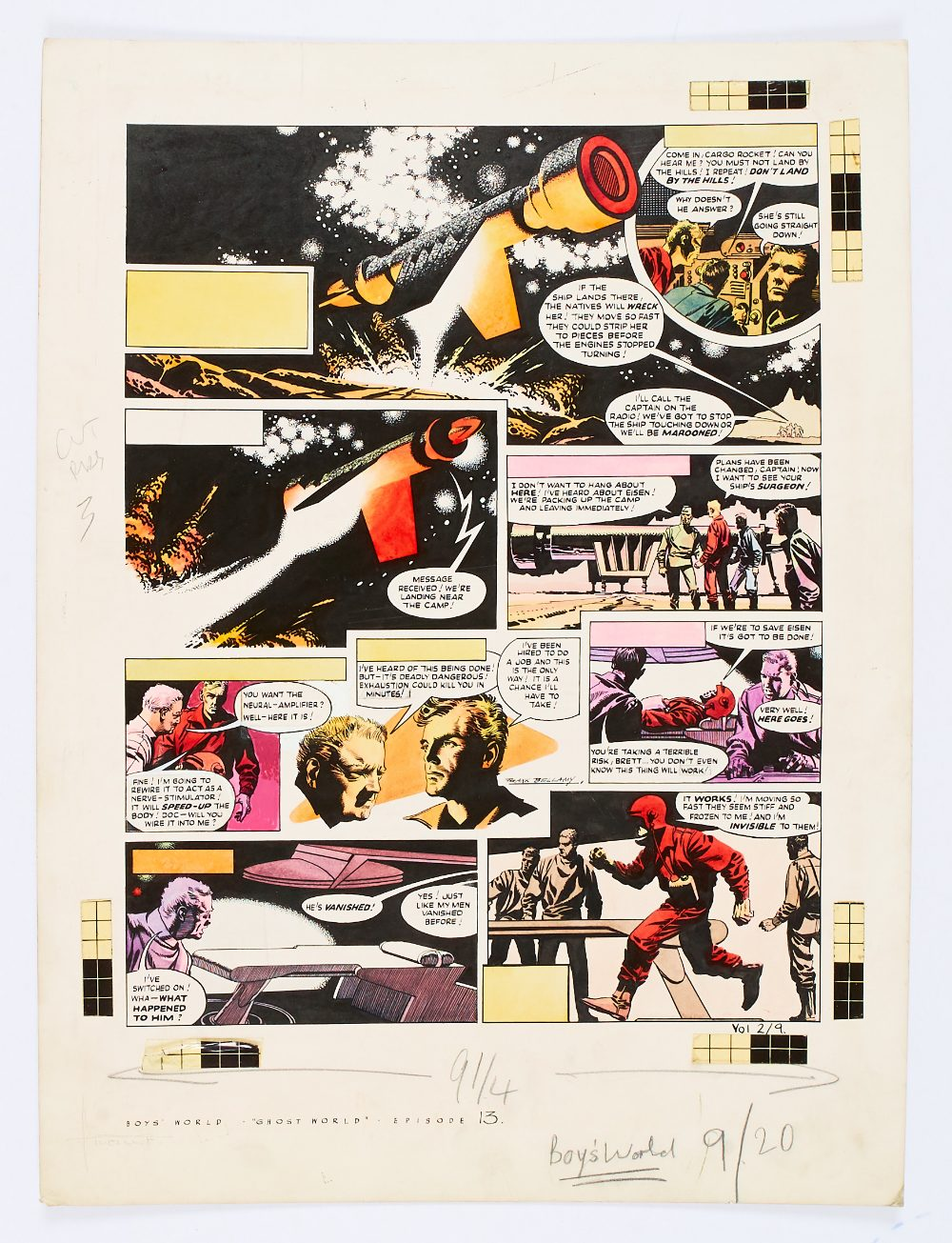 Lot 92 - Boy's World/Brett Million and the Ghost World original artwork (1963) drawn, painted and signed by