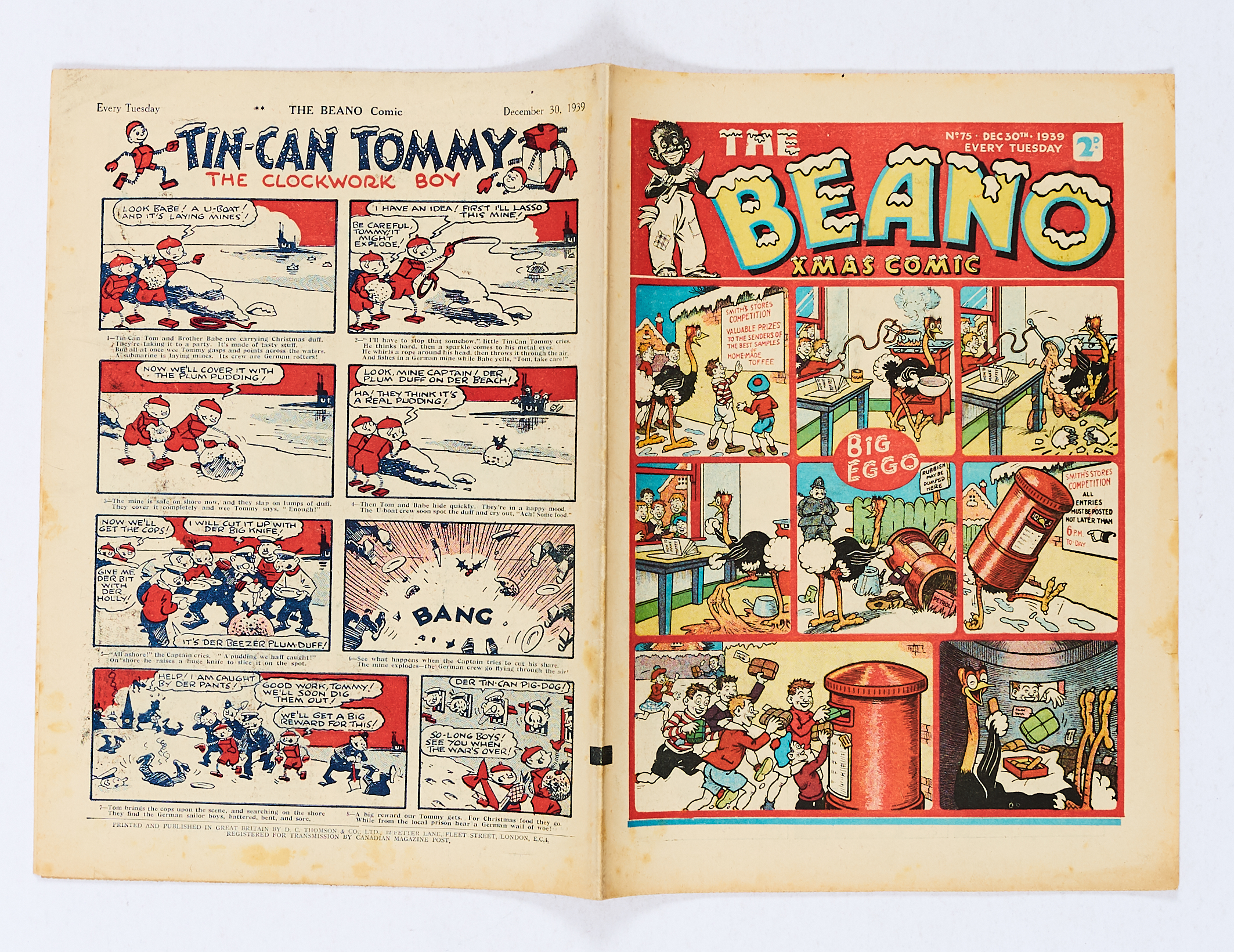Lot 26 - Beano 75 (1939) Second Xmas Comic. Propaganda war issues. Hooky's Magic Bowler Hat brings Hitler