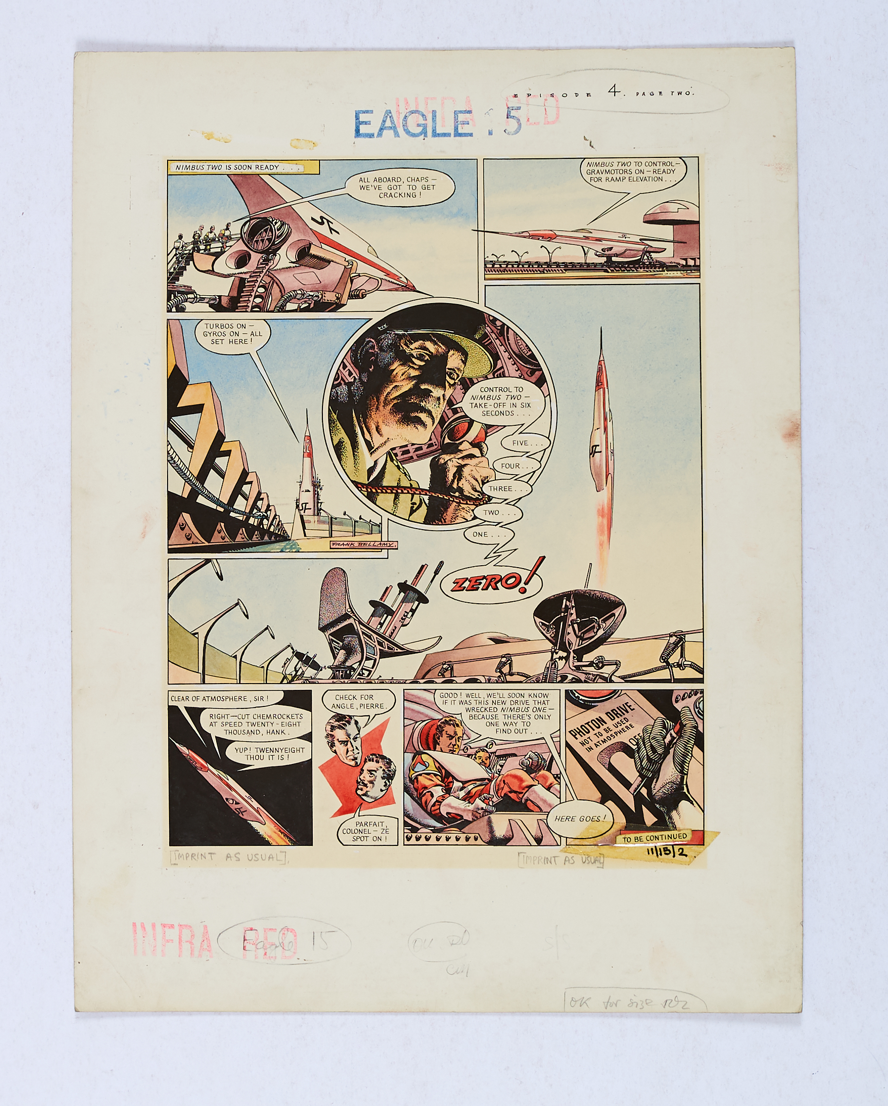 Lot 73 - Dan Dare original artwork painted and signed by Frank Bellamy for The Eagle Vol. 11, No 15 page 2 (9