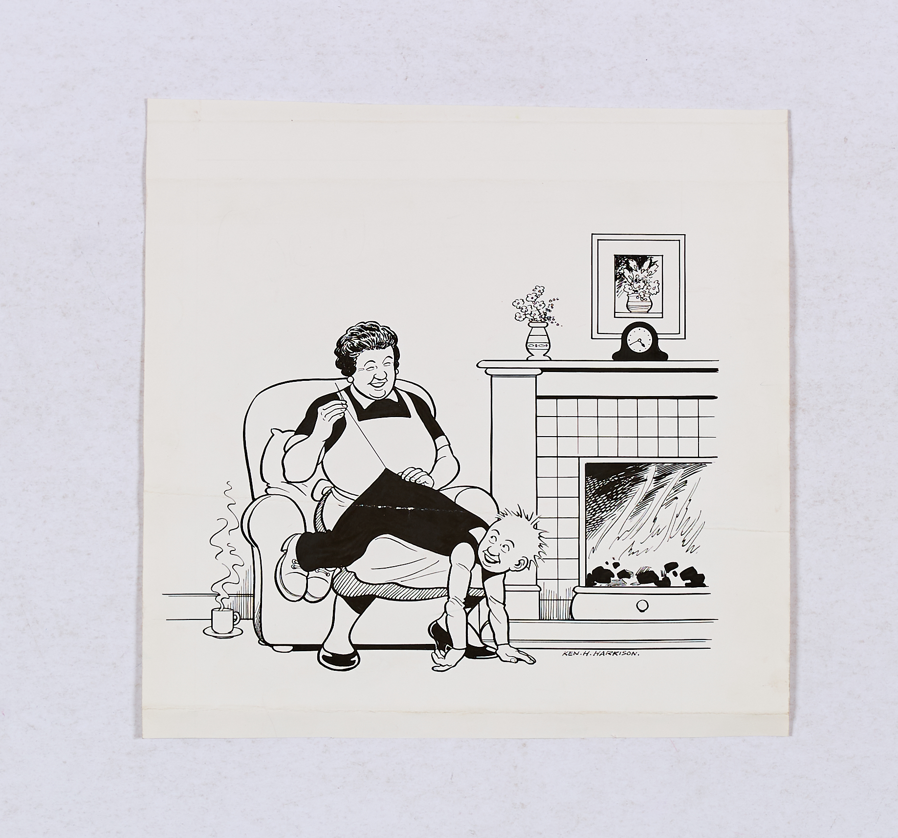 Lot 126 - Oor Wullie original artwork drawn and signed by Ken Harrison (1990s). Maw stitches Oor Wullie's