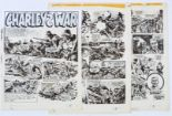 Lot 120 - Charley's War three original artworks by Joe Colquhoun from Battle 614 (1984) pgs 29-31. The