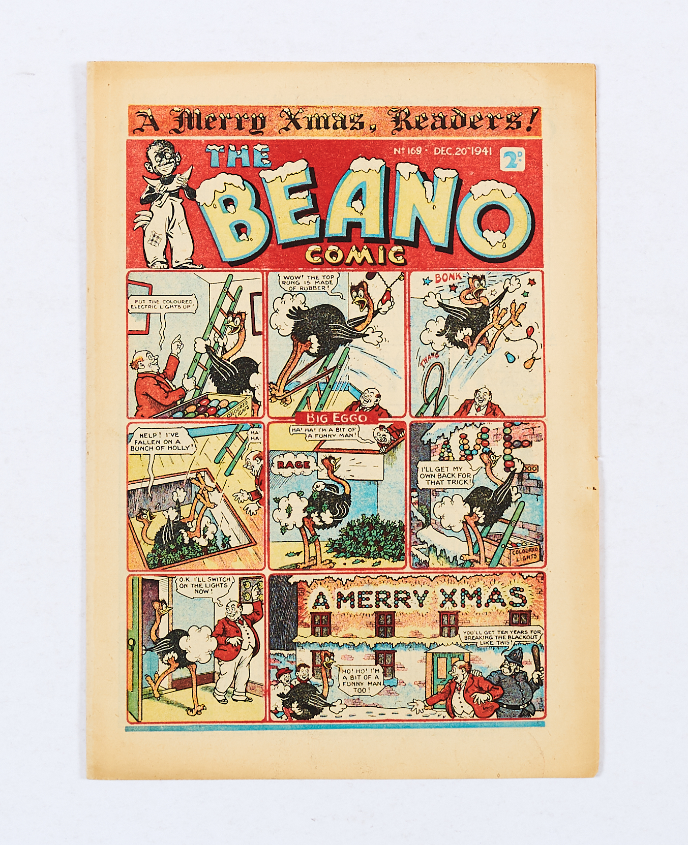 Lot 28 - Beano 169 (1941). Xmas propaganda war issue. Beano characters comic strip 'We're doing our bit for