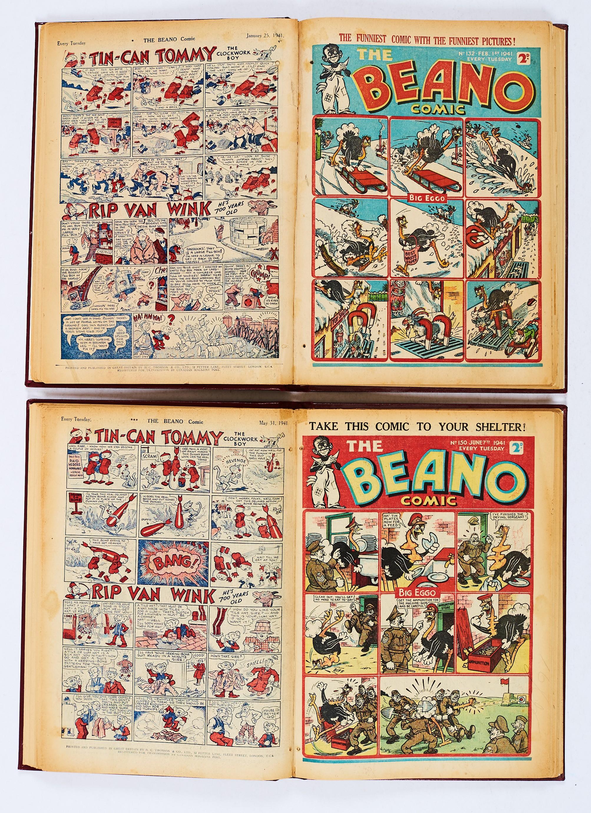 Lot 27 - Beano (Jan-Jul 1941) 128-155. In two bound volumes. Propaganda war issues. Hitler sends a letter