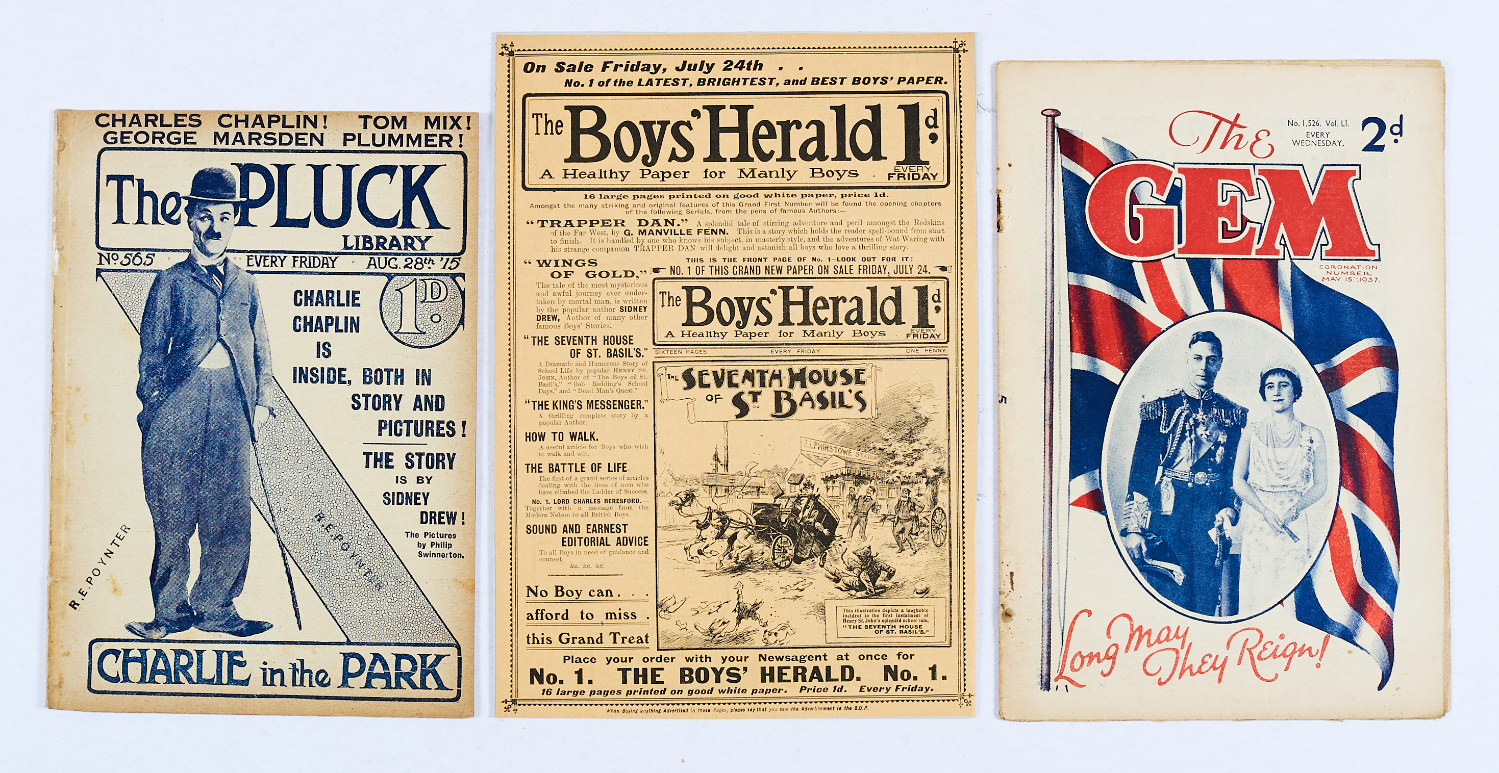 Lot 3 - Boy's Herald No 1 advertising pamphlet (1903) with Pluck 565 (1915), Charlie Chaplin early photo