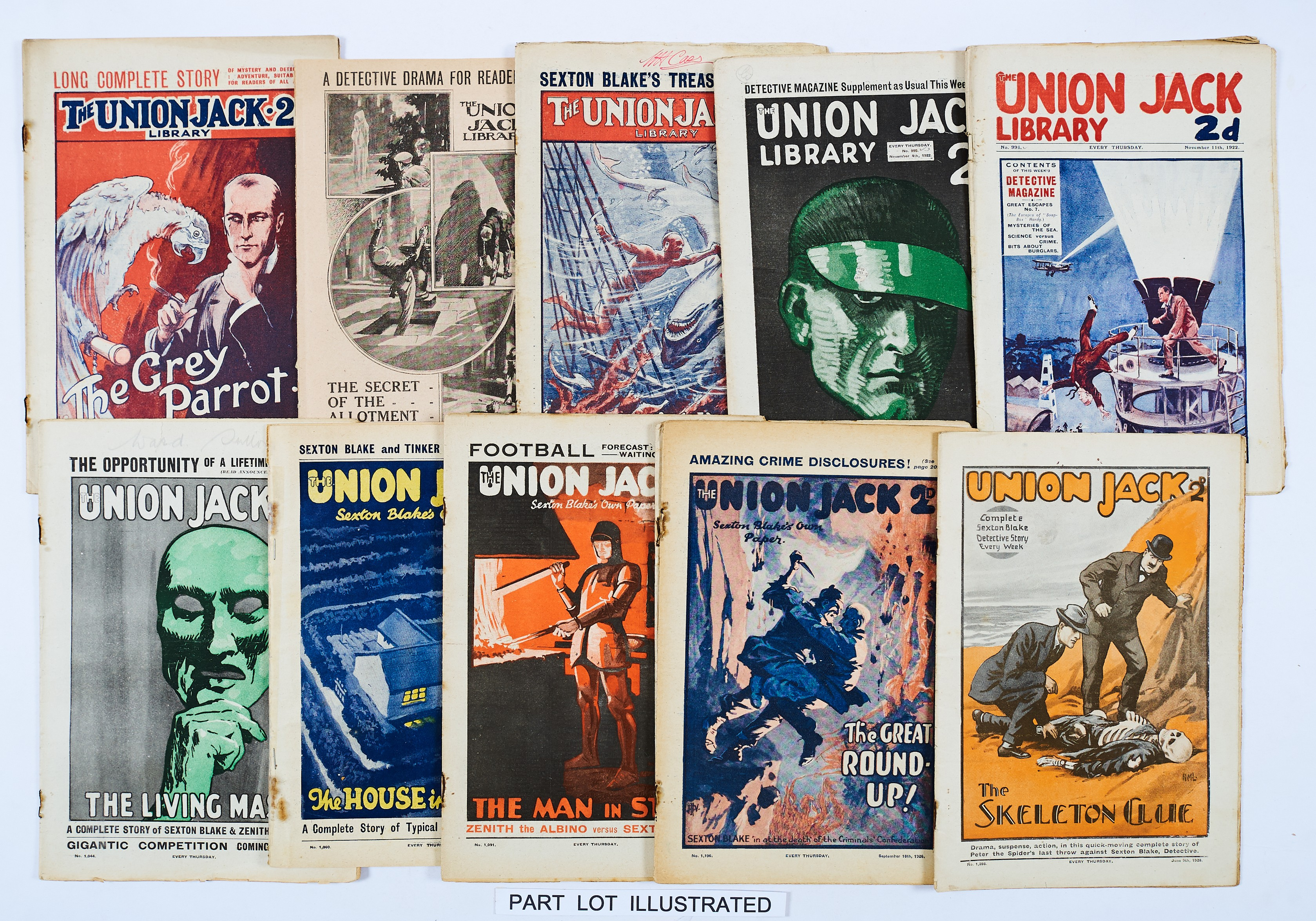 Lot 5 - Union Jack (1916-28) 63 issues of Sexton Blake's Own Paper between 665-1312. All with rusty