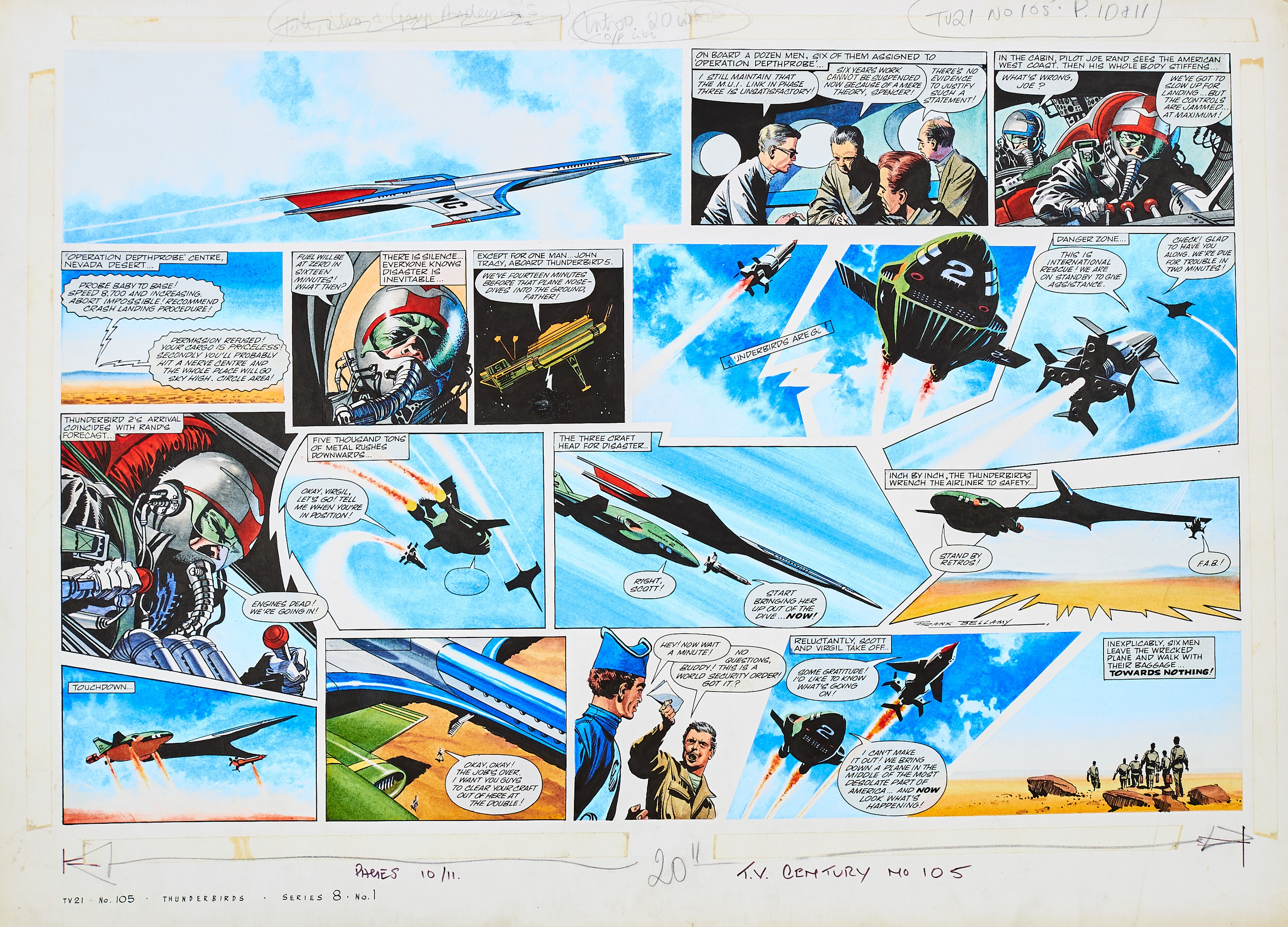 Lot 116 - Thunderbirds original double page artwork (1967) drawn, painted and signed by Frank Bellamy for TV