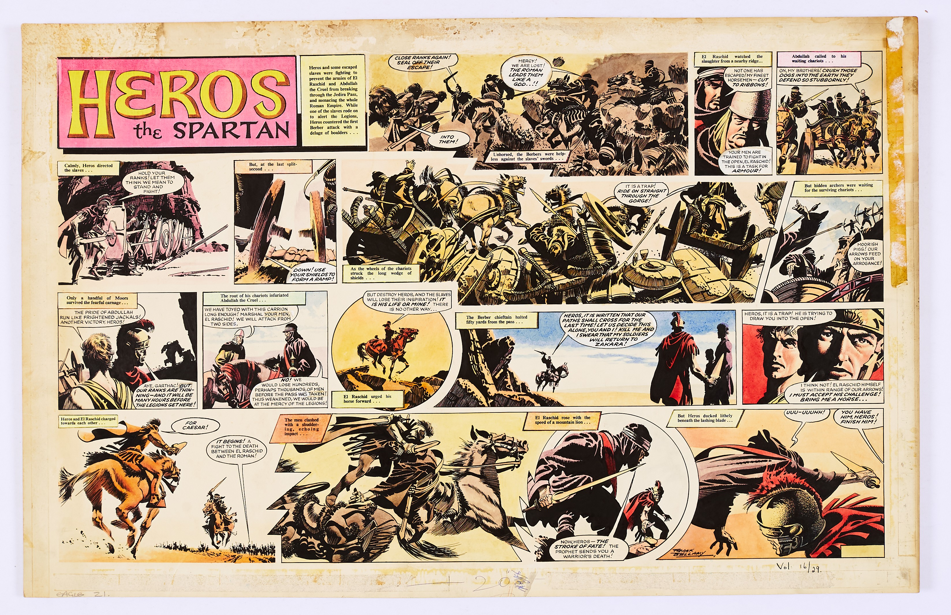 Lot 97 - Heros The Spartan double-page original artwork (1965) painted and signed by Frank Bellamy from The