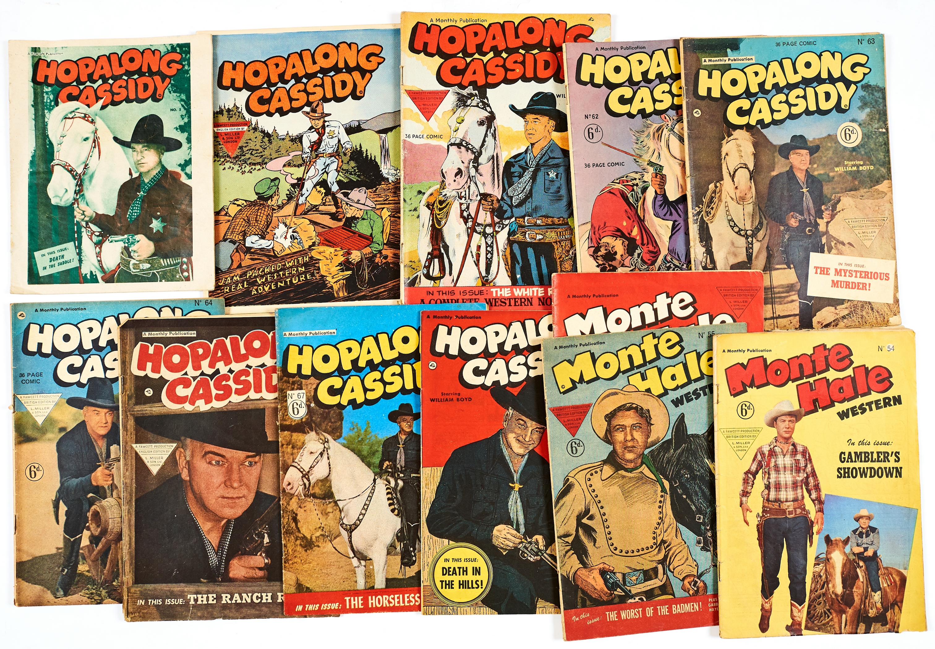 Lot 53 - Hopalong Cassidy (1950s L. Miller) 5, n.n., (these two are scarce photogravure pilot issues), 61-64,