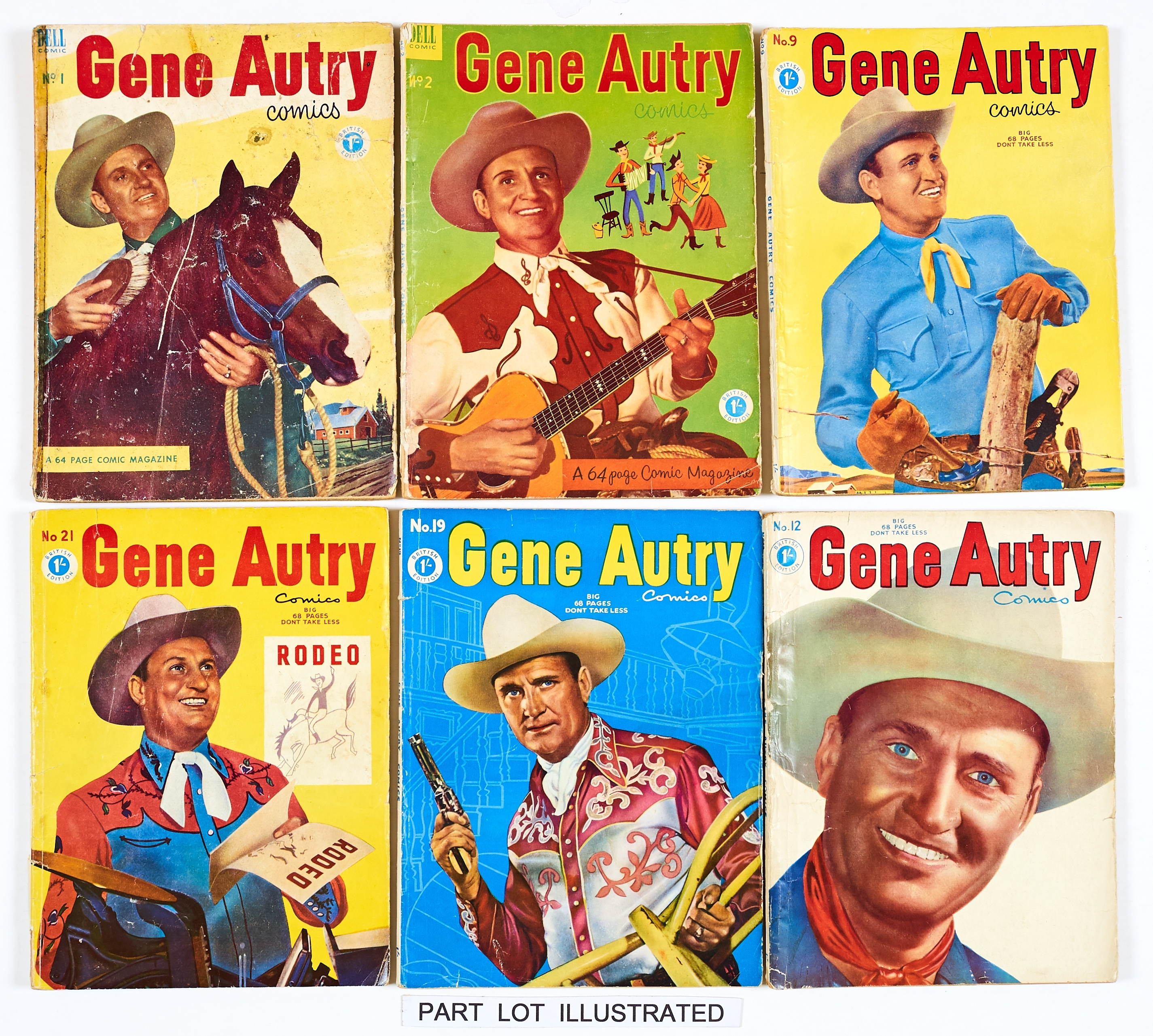 Lot 52 - Gene Autry (Dell UK reprints 1953-57) 1, 2, 4-9, 11-30. No 1: well worn covers, taped spine [fr], 4,