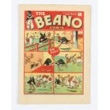Beano No 13 (1938). Bright cover, with half-inch margin tear, cream pages [vg+]