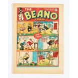 Beano No 14 (1938). Bright cover with one inch centre tear (underneath 'don't tickle'). Some light