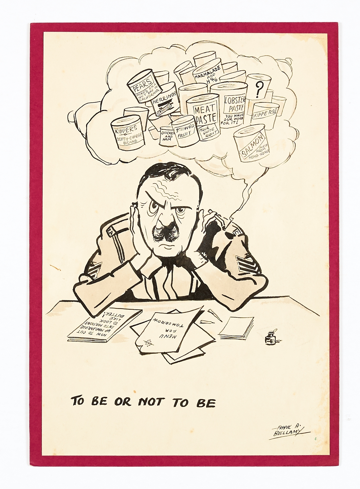 Lot 28 - Frank Bellamy original signed sketch (1940s) 'To Be or Not To Be'. The Catering Corps Sergeant in
