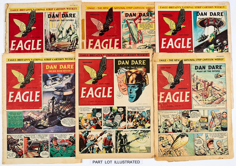 Lot 51 - Eagle (1950-51) Vol 1: No 1-52, Vol 2: 1-52. Mostly reading copies. Vol. 1 No 1 split spine [fr],